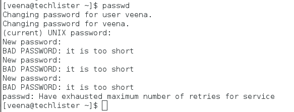 Number of attempts given for password change, when you run the command 'passwd'