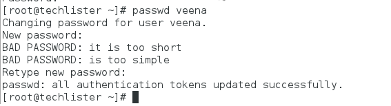 root user changing the password of user veena.