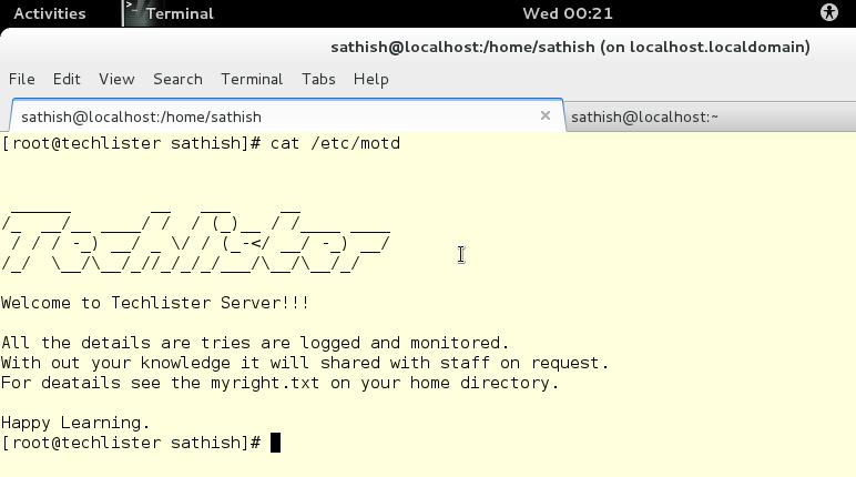 cat of motd file